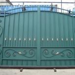 Распашные сварные ворота с ковкой, с профнастилом, Рязань